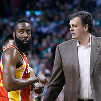 11 January 2013: Houston Rockets head coach Kevin McHale talks to Houston Rockets shooting guard James Harden (13) during the Boston Celtics 103-91 victory over the Houston Rockets at the TD Garden, Boston, Massachusetts, USA.