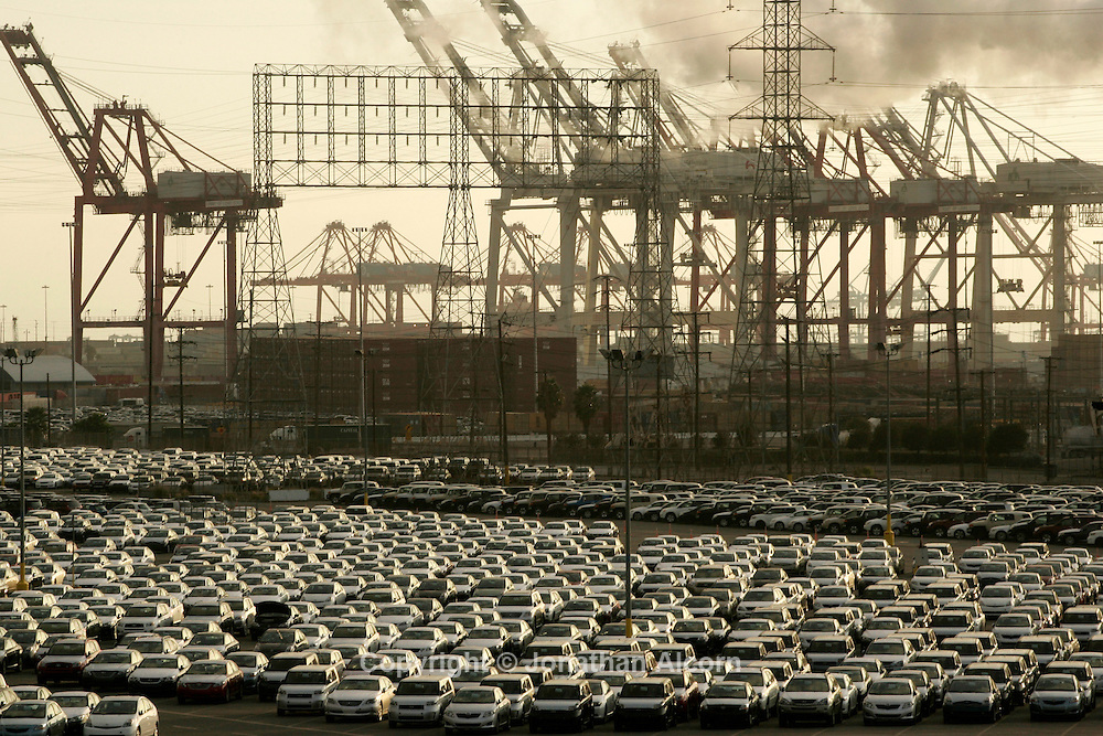 Dec 08, 2008 - Long Beach, California, USA - Toyota automobiles made overseas sit on a lot near the Port Of Long Beach as supplies far outstrip demand amid the nation's worst auto market in more than 25 years.