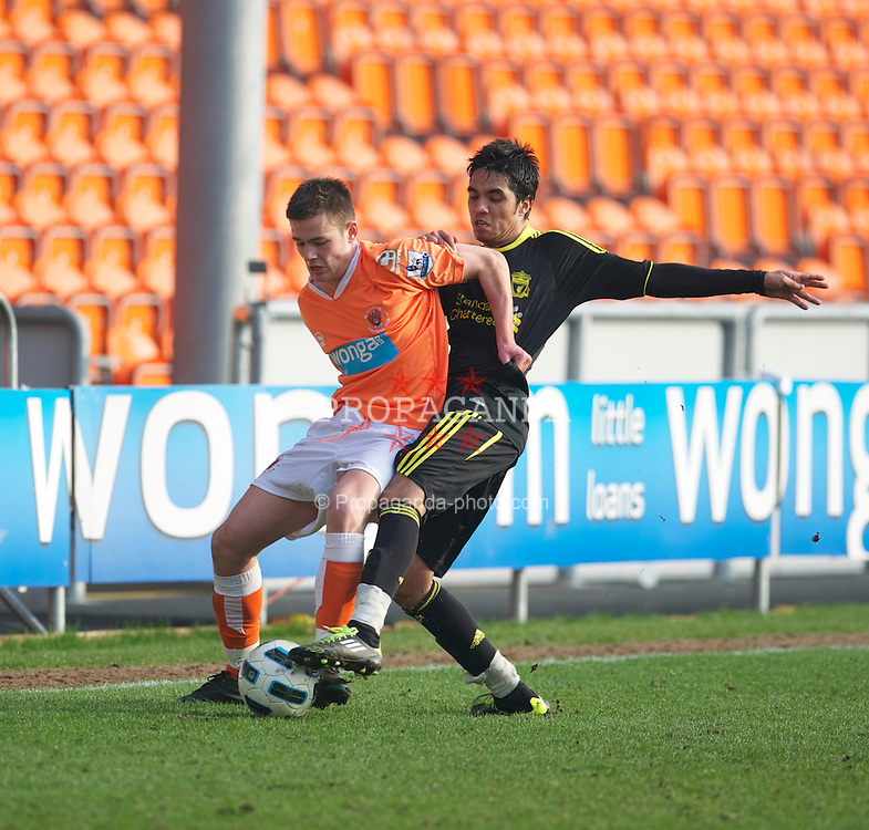 BLACKPOOL, ENGLAND - Wednesday, March 3, 2011: Liverpool's Gerardo Alfredo Bruna Blanco and Blackpool's Josh Roberts during the FA Premiership Reserves League (Northern Division) match at Bloomfield Road. (Photo by David Rawcliffe/Propaganda)