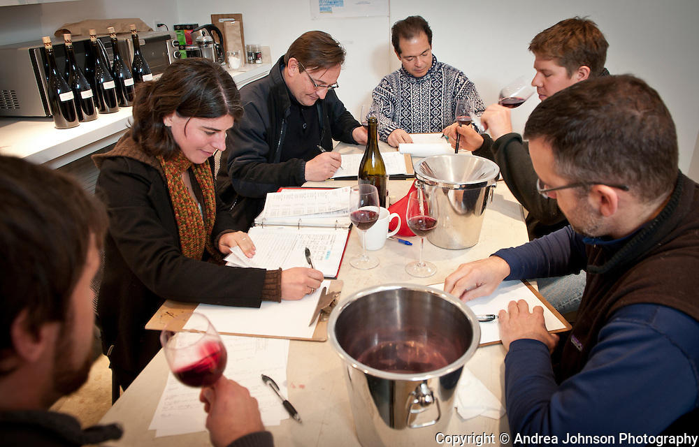 Blending session at Evening Land Vineyards, Willamette Valley, Oregon.  Left to right: Ian Burch, Isabelle Meunier, Dominique Lafon, Larry Stone, Ryan Hannaford, Kirk Pahlow.