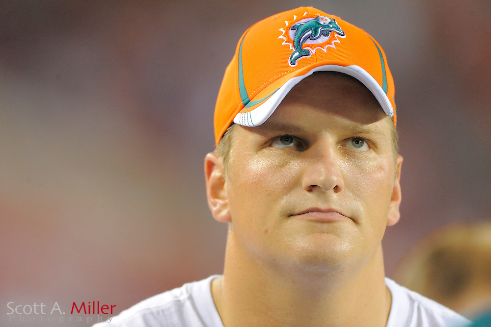 Miami Dolphins offensive tackle Jake Long (77) during  the Dolphins game against the Tampa Bay Buccaneers at Raymond James Stadium on Aug. 27, 2011 in Tampa, Fla...(AP Photo/Scott A. Miller)