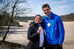 18-03-2018 NED: We hike to change diabetes, Soest<br /> Training voor de Camino 2018 op de Soesterduinen / Iris en Bas