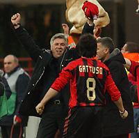Photo. Daniel Hambury, Digitalsport<br /> AC Milan v Manchester United. 08/03/2005.<br /> UEFA Champions league.<br /> Milan's coach Carlo Ancelotti celebrates victory.