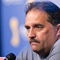 09 june 2009: Stan Van Gundy, coach of the Orlando Magic, is seen during a press conference after game 3 of the 2009 NBA Finals won 108-104 by the Orlando Magic over the Los Angeles Lakers at Amway Arena, in Orlando, Florida, USA.