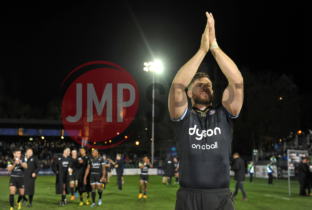 Dave Attwood of Bath Rugby acknowledges the crowd after the match - Mandatory byline: Patrick Khachfe/JMP - 07966 386802 - 21/11/2015 - RUGBY UNION - The Recreation Ground - Bath, England - Bath Rugby v Leinster Rugby - European Rugby Champions Cup.