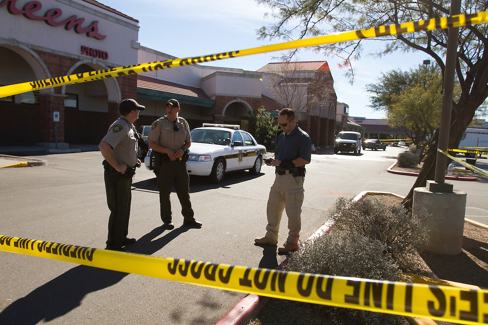 The scene at the Safeway store where the shooting of Congresswoman Gabrielle Giffords and others took place on North Oracle Road in Tucson, Arizona.