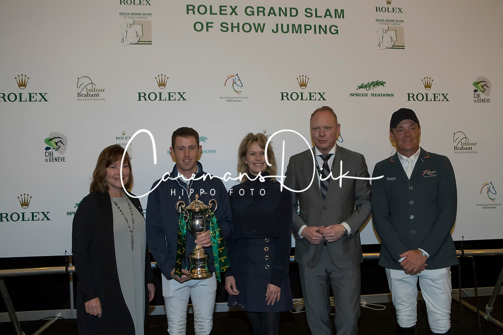 The organizers of the Rolex Grand Slam of Showjumping<br /> In the picture : Linda Southern-Heathcott, President of the Steering Committee of the Rolex Grand Slam of Show Jumping, Scott Brash, Anky Van Grunsven, President Indoor Brabant, Marcel Hunze, Event Director Indoor Brabant, Jeroen Dubbeldam<br /> Indoor Brabant - Den Bosch 2017<br /> © Dirk Caremans<br /> 12/03/2017