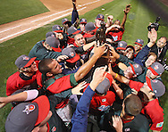 The TinCaps celebrate their win over the Bees in game three of the Midwest League Championship at Community Field in Burlington, Iowa on September 17, 2009.