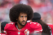 San Francisco 49ers quarterback Colin Kaepernick (7) hangs out before a game against the Dallas Cowboys at Levis Stadium in Santa Clara, Calif., on October 2, 2016. (Stan Olszewski/Special to S.F. Examiner)