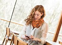 Creative Workplace, junge Frau, kreativ, Arbeiten außerhalb des Büros,  Mobiltelefon, Restaurant, Österreich, Horn