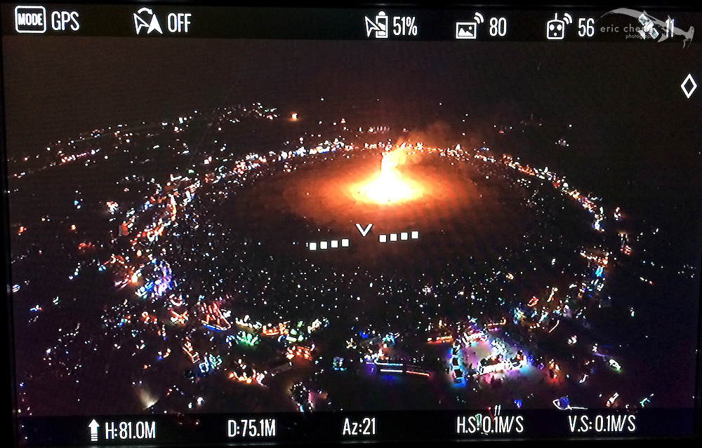 A picture of my FPV display during aerial capture of the man burn at Burning Man 2014. DJI Phantom 2, GoPro HERO 3+ Black, DJI Lightbridge. Burning Man 2014.