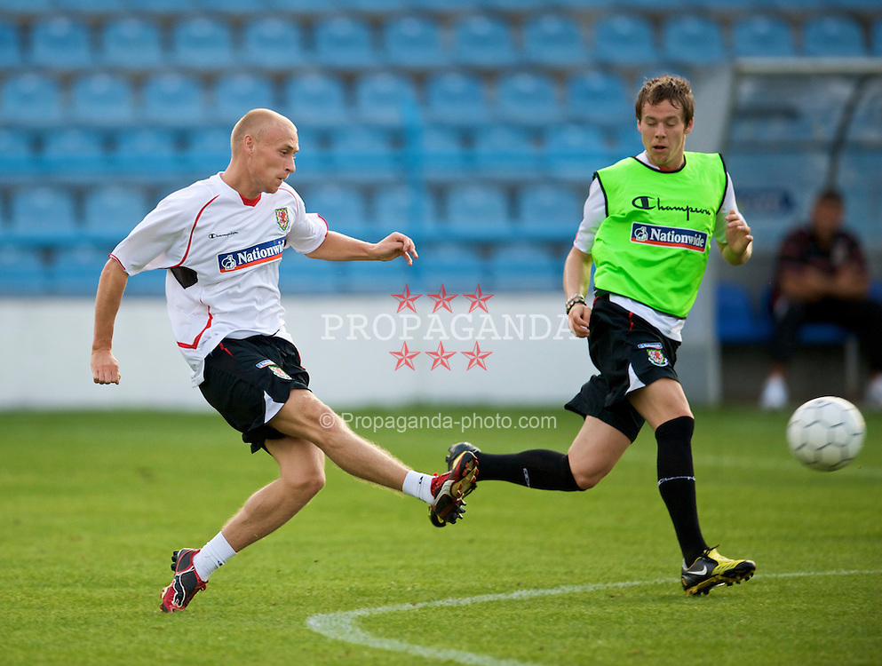 PODGORICA, MONTENEGRO - Tuesday, August 11, 2009: Wales' David Cotterill during a training session at the Gradski Stadion ahead of the international friendly match against Montenegro. (Photo by David Rawcliffe/Propaganda)