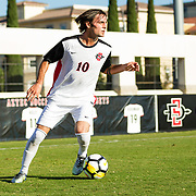 09 September 2018: San Diego State Aztecs midfielder Keegan Kelly (10) looks to pass the ball into the box in the first half. The San Diego State men's soccer team beat UC Irvine in overtime 2-1 Sunday afternoon at the SDSU Sports Deck.