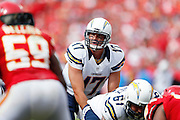 KANSAS CITY, MO - SEPTEMBER 30: Philip Rivers #17 of the San Diego Chargers gets ready to take the snap against the Kansas City Chiefs during the game at Arrowhead Stadium on September 30, 2012 in Kansas City, Missouri. The Chargers won 37-20. (Photo by Joe Robbins) *** Local Caption *** Philip Rivers