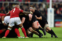 Sam Cane of New Zealand in action at a scrum - Mandatory byline: Patrick Khachfe/JMP - 07966 386802 - 09/10/2015 - RUGBY UNION - St James' Park - Newcastle, England - New Zealand v Tonga - Rugby World Cup 2015 Pool C.