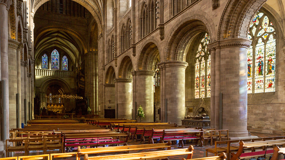 HEREFORD, UK January 23rd 2019 - Nave at Hereford Cathedral, United Kingdom