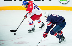 Martin Zatovic of Czech Republic vs Mike Reilly of USA during Ice Hockey match between USA and Czech Republic at Third place game of 2015 IIHF World Championship, on May 17, 2015 in O2 Arena, Prague, Czech Republic. Photo by Vid Ponikvar / Sportida
