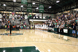 20 February 2016:  The national anthem during an NCAA men's division 3 CCIW basketball game between the Elmhurst Bluejays and the Illinois Wesleyan Titans in Shirk Center, Bloomington IL
