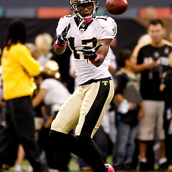 October 3, 2010; New Orleans, LA, USA; New Orleans Saints wide receiver Marques Colston (12) during warm ups prior to kickoff of a game between the New Orleans Saints and the Carolina Panthers at the Louisiana Superdome. Mandatory Credit: Derick E. Hingle