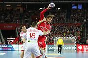 Luka Cindric (Croatia) and Siarhei Shylovich (Belarus) during the EHF 2018 Men's European Championship, 2nd Round, Handball match between Croatia and Belarus on January 18, 2018 at the Arena in Zagreb, Croatia - Photo Laurent Lairys / ProSportsImages / DPPI
