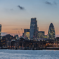 New skyscrapers of the City of London at sunset 2014 including 20 Fenchurch Street, 122 Leadenhall Street, The Gherkin and the Heron Tower