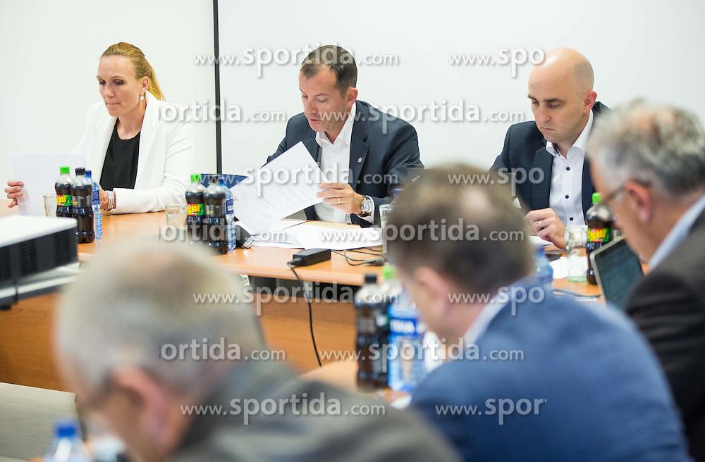 Petra Majdic, Enzo Smrekar, president and Jozko Krizan, new director during meeting of Executive Committee of Ski Association of Slovenia (SZS) on September 22, 2015 in SZS, Ljubljana, Slovenia. Photo by Vid Ponikvar / Sportida