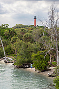 Jupiter Inlet Lighthouse and Indian River from the South Beach Bridge in Jupiter, Florida.