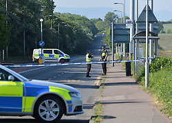 Police in attendance at the site of a serious accident on Maybury Road in Edinburgh, which remains closed.<br /> <br /> &copy; Dave Johnston / EEm