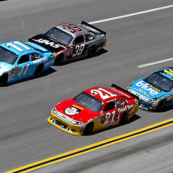 April 17, 2011; Talladega, AL, USA; NASCAR Sprint Cup Series driver Denny Hamlin (11) leads Trevor Bayne (21), Ryan Newman (39) and Greg Biffle (16) during the Aarons 499 at Talladega Superspeedway.   Mandatory Credit: Derick E. Hingle