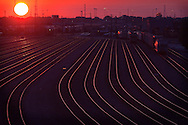 The late summer sun hangs low in the sky over Union Pacific's giant Proviso yard in suburban Chicago, IL. The many empty tracks are a sure sign of the slow economy in the US at the time.