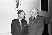 "23/09/1963<br /> 09/23/1963<br /> 23 September 1963<br /> Mr Colm Barnes addressing Rotary Club at the Hibernian Hotel, Dublin. Mr Barnes (left), Chairman of the Institute of Industrial Research and Standards and Joint Managing Director, Glen Abbey Textiles Ltd., who addressed the Dublin Rotary Club on ""Industrial Research"", with Dr. B.J. Senior, President of the Dublin Rotary Club at the luncheon."
