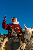 Palestinian Arab man with his donkey, Mount of Olives, Jerusalem, Israel.