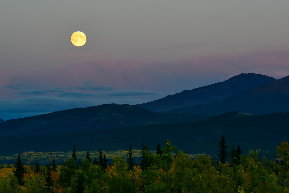 Moon rise over Yukon mountains