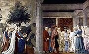 Piero Della Francesca (Sansepolcro, 1416-1417 -1492) . Adoration of the Holy Wood and the Meeting of Solomon and the Queen of Sheba c. 1452 Fresco, at San Francesco, Arezzo. ca. 1452