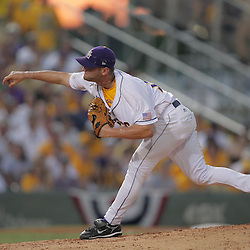 09 June 2008: LSU relief pitcher, Jordan Brown pitched two innings in relief of starter Blake Martin allowing two runs on four hits against UC Irvine. The LSU Tigers advanced to the College World Series with a 21-7 victory over the UC Irvine Anteaters in game three of the NCAA Baseball Baton Rouge Super Regional Alex Box Stadium in Baton Rouge, LA..