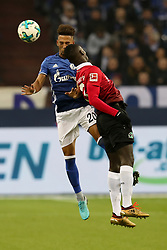 GELSENKIRCHEN, Jan. 22, 2018  Ihlas Bebou (R) of Hannover and Thilo Kehrer of Schalke battle for the ball during the Bundesliga match between FC Schalke 04 and Hannover 96 at Veltins-Arena in Gelsenkirchen, Germany, Jan. 21, 2018. (Credit Image: © Joachim Bywaletz/Xinhua via ZUMA Wire)