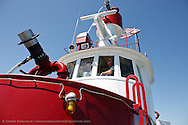 Captain Jeff Amdahl aboard the fireboat Guardian