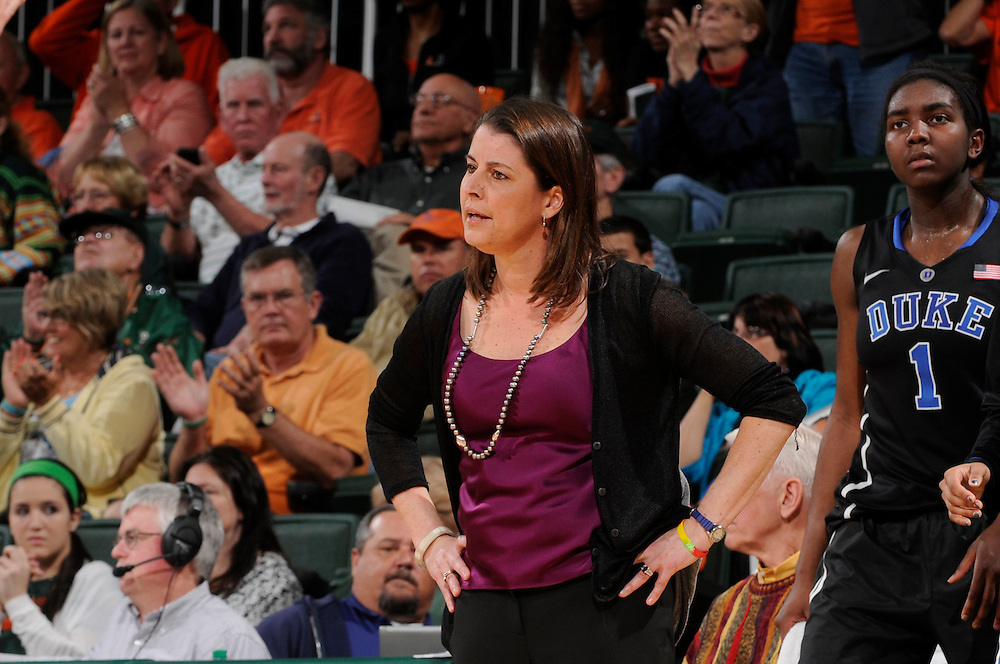 February 28, 2013: Head coach Joanne McCallie of Duke in action during the NCAA basketball game between the Miami Hurricanes and the Duke Blue Devils at the Bank United Center in Coral Gables, FL. The Hurricanes defeated the Blue Devils 69-65.