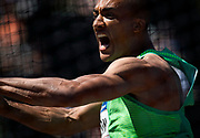 An expressive Ashton Eaton lets the discus fly during decathlon competition at the 2016 U.S. Olympic Track and Field Trials at Hayward Field in Eugene, Ore., on Sunday, July 3, 2016. (Ryan Kang/The Register-Guard)