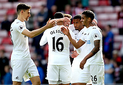 Swansea City players celebrate their win over Sunderland - Mandatory by-line: Robbie Stephenson/JMP - 13/05/2017 - FOOTBALL - Stadium of Light - Sunderland, England - Sunderland v Swansea City - Premier League