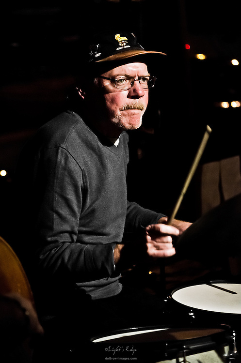 Jim Miller on drums during a Monday Rowan Jazz at The Bus Stop Music Cafe event.