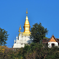 Golden Pagoda on Mount Phousi in Luang Prabang, Laos <br />