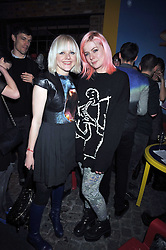 Left to right, FRANCESCA BURNS and BELLA HOWARD at the Prada Congo Art Party hosted by Miuccia Prada and Larry Gagosian at The Double Club, 7 Torrens Street, London EC1 on 10th February 2009.