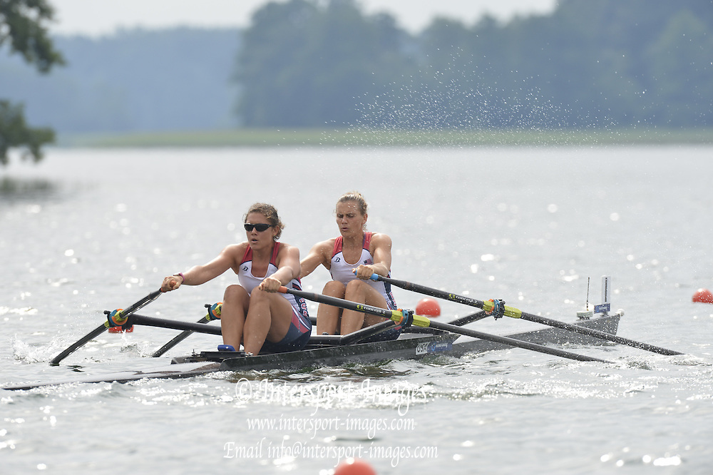 Trackai. LITHUANIA.  USA W2X, Bow, Cara LINNENKOHL and Carli GOLDBERG,  2012 FISA U23 Rowing Championships, Lake Galve.   10:40:08 Thursday 12/07/2012 [Mandatory credit: Peter Spurrier/Intersport Images]..Rowing, U23, 2012.