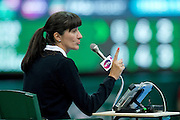 Chair Referee Gabriela Zaloga from Poland during WTA women's tennis tournament BNP Paribas Katowice Open 2014 at Spodek Hall in Katowice, Poland.<br /> <br /> Poland, Katowice, April 09, 2014<br /> <br /> Picture also available in RAW (NEF) or TIFF format on special request.<br /> <br /> For editorial use only. Any commercial or promotional use requires permission.<br /> <br /> Mandatory credit:<br /> Photo by &copy; Adam Nurkiewicz / Mediasport