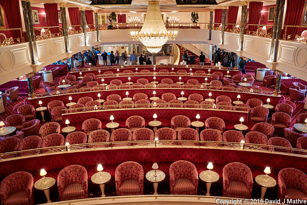 View of the Kaisersaal from the forward balcony. This is the main auditorium on MV World Odyssey. It is large enough to seat all of the students, faculty, and life-long learners during the Semester at Sea, 2016 Spring Semester Voyage. Image taken with a Nikon N1 V3 camera and 10-30 mm VR lens (ISO 200, 10 mm, f/3.5, 1/5 sec).