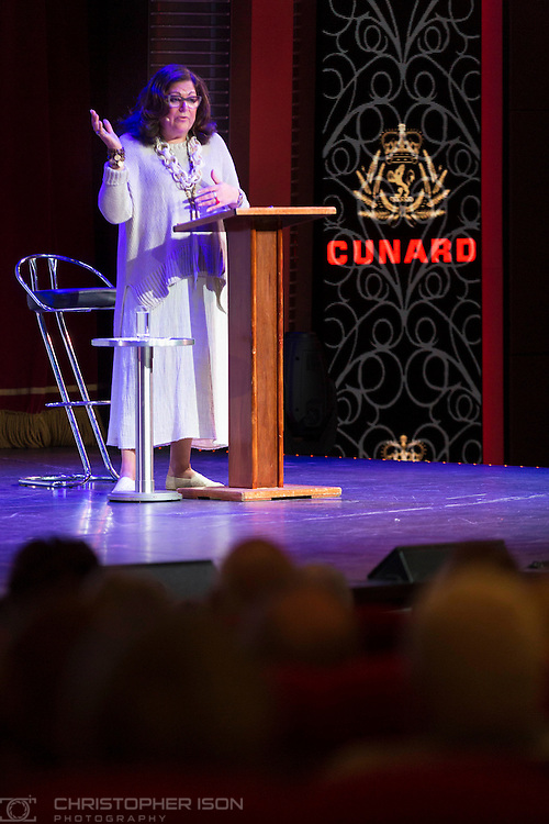 Fern Mallis delivers a presentation aboard Queen Mary 2 during Cunard's first Transatlantic Fashion Week. The voyage set sail from Southampton and will arrive in to New York City for the start of New York Fashion Week on the 8th September. <br /> Picture date: Saturday September 3, 2016.<br /> Photograph by Christopher Ison &copy;<br /> 07544044177<br /> chris@christopherison.com<br /> www.christopherison.com