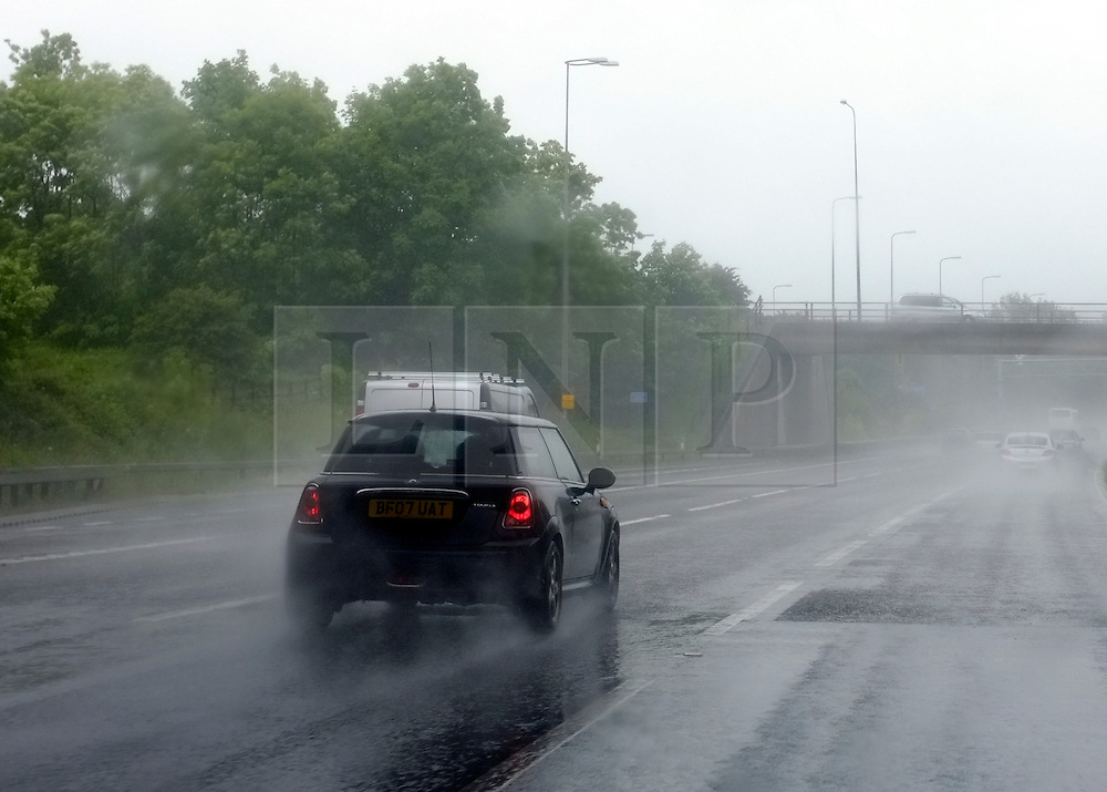 © Licensed to London News Pictures. 16/06/2012. Birmingham, UK. Heavy rain makes for difficult driving conditions on the M42 motorway  near Birmingham today 16th June 2012.  Photo credit : Stephen Simpson/LNP