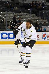 Dec 8, 2011; San Jose, CA, USA; Dallas Stars defenseman Trevor Daley (6) warms up before the game against the San Jose Sharks at HP Pavilion.  San Jose defeated Dallas 5-2. Mandatory Credit: Jason O. Watson-US PRESSWIRE