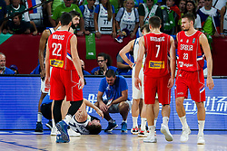 Luka Doncic of Slovenia injured during the Final basketball match between National Teams  Slovenia and Serbia at Day 18 of the FIBA EuroBasket 2017 at Sinan Erdem Dome in Istanbul, Turkey on September 17, 2017. Photo by Vid Ponikvar / Sportida